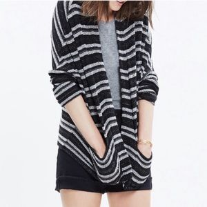 Madewell Black and White Striped Pocket Cardigan